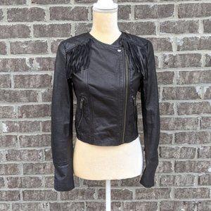 NWT Banana Republic Leather Fringe Jacket